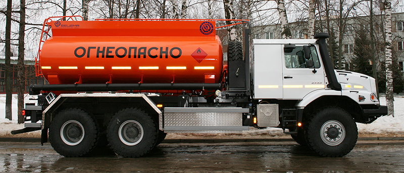 BCM-165.9 tanker truck for light petroleum products on Mercedes-Benz Zetros 6x6 chassis, capacity of 12 m3