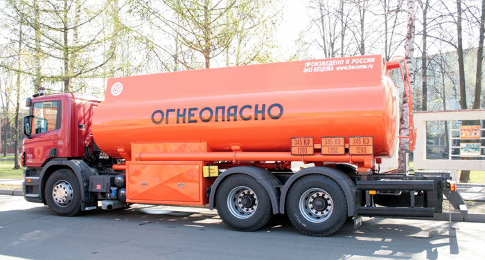 BCM-112.6 refueling truck for light petroleum products mounted on SCANIA 6x6 chassis, 09G2S steel