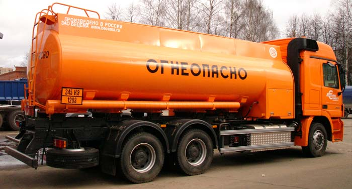 BCM-167 refueling truck for light petroleum products on Mercedes-Benz Actros 6х4 chassis, Al, capacity of 15 m3