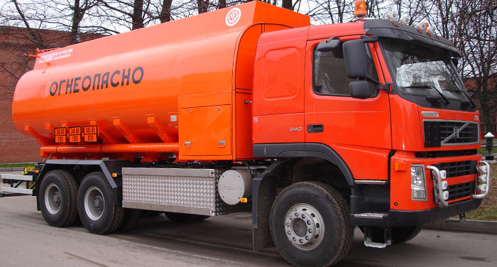 BCM-83 refueling truck for light petroleum products mounted on VOLVO FM 6x6 chassis, 09G2S steel