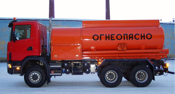 BCM-103.1 tanker truck for light petroleum products on Scania P124CB 6x6 chassis, capacity of 11 m3