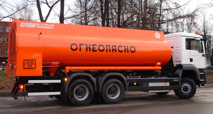 BCM-112.1 tanker truck for light petroleum products on MAN TGA 6x6 chassis, capacity of 17 m3