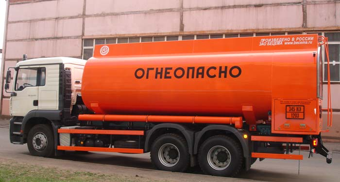 BCM-83.8 tanker truck for light petroleum products on MAN TG-A 6x4 chassis, capacity of 20 m3