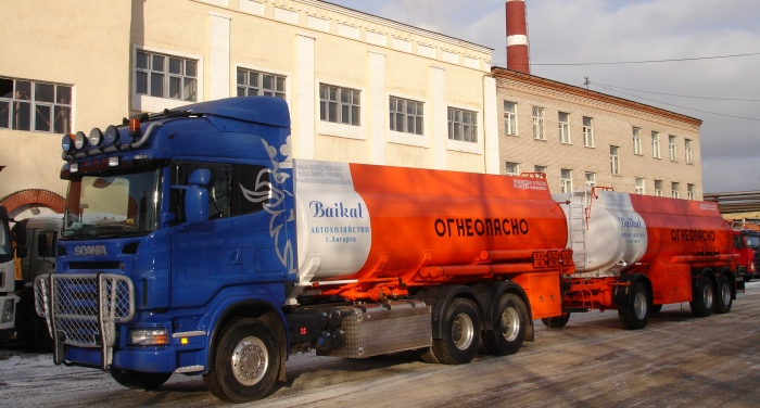 BCM-83.7 tanker truck for light petroleum products on SCANIA R380 6x4 chassis, 09G2S steel