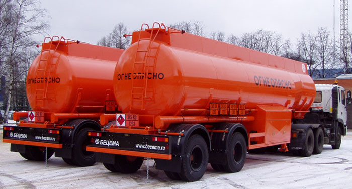 BCM-14 tank semi-trailer for light petroleum products, capacity of 30 м3